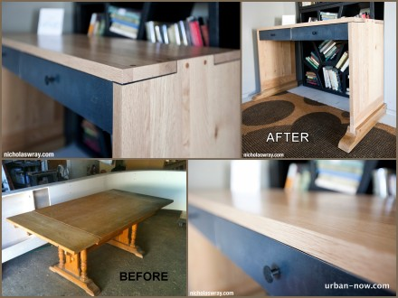 Makeup desk made from an old Trestle table